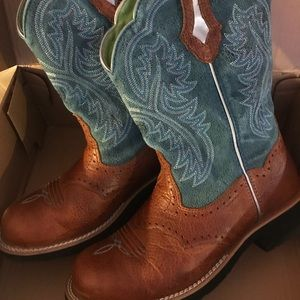 Blue and Tan Leather Ariat Showbaby Boots